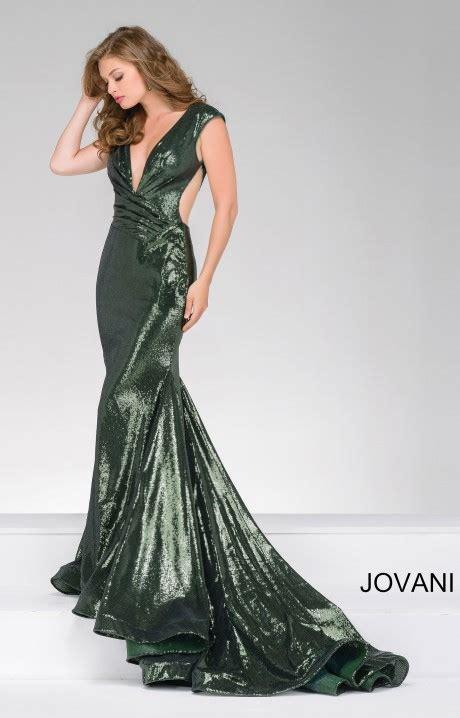jovani  fitted sequin deep  neckline mermaid dress