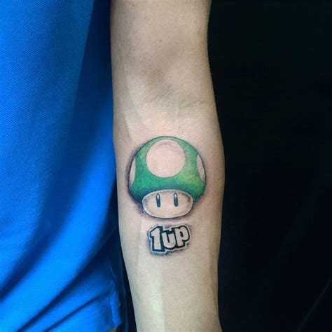 mario mushroom tattoo 1up from nintendo mario bros