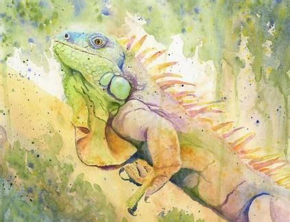 quot spike quot green iguana costa rica watercolor monahoule watercolors