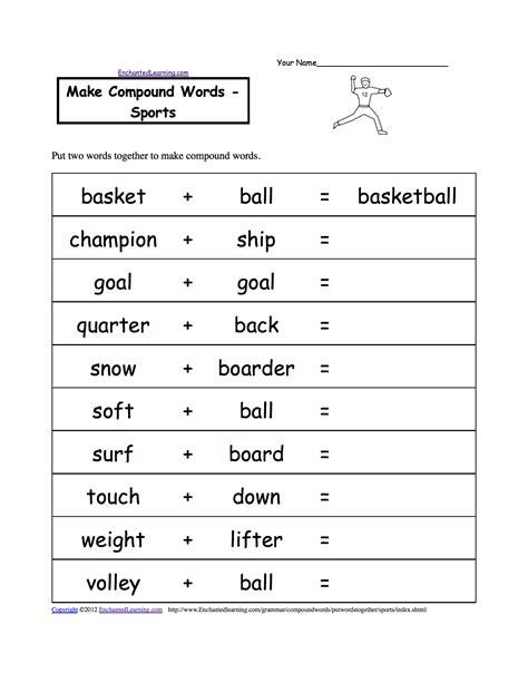 spelling worksheets sports at enchantedlearning com