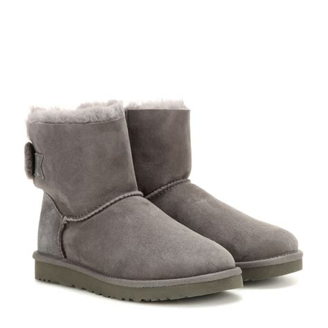 bow boots ugg mini bailey bow suede boots in gray lyst