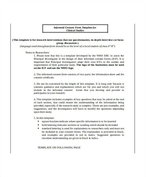 research study template 34 consent forms in doc
