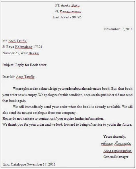 Contoh Surat Semi Block Style Tentang Penawaran Barang by Cahyadi Surya Inquiry Letter Order Letter