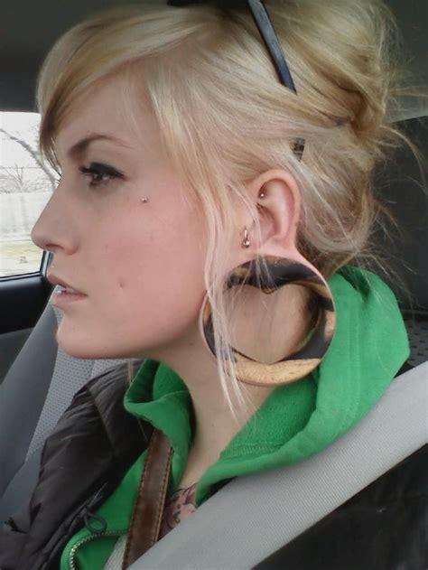 female ear lobes big lobes gauges heart heart plug microdermal plugs