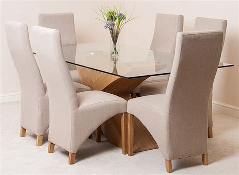 Glass Dining Table Fabric Chairs Valencia Oak 200cm X 100cm Glass Dining Table 6 Lola