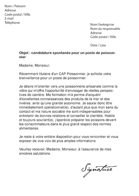 Exemple De Lettre De Motivation Grande Distribution lettre de motivation candidature spontan 233 e grande