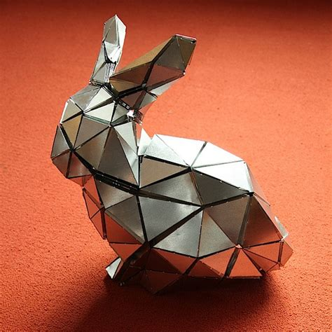 Metal Origami - folded metal bunny make
