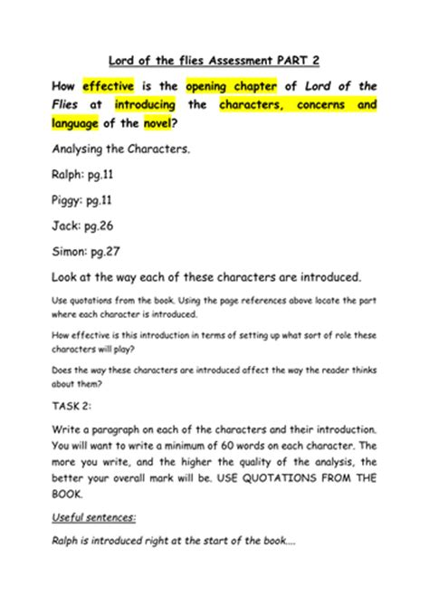 Lord Of The Flies Setting Essay by Lord Of The Flies Gcse Prose Essay Activity Pack By