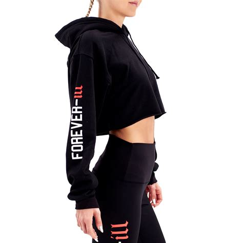 design crop top hoodie forever ill crop top hoodie black undercover prodigy