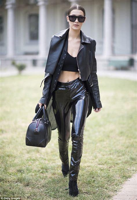 Shine Legging Celana hadid struts stuff in skin tight shiny trousers during milan fashion week daily mail