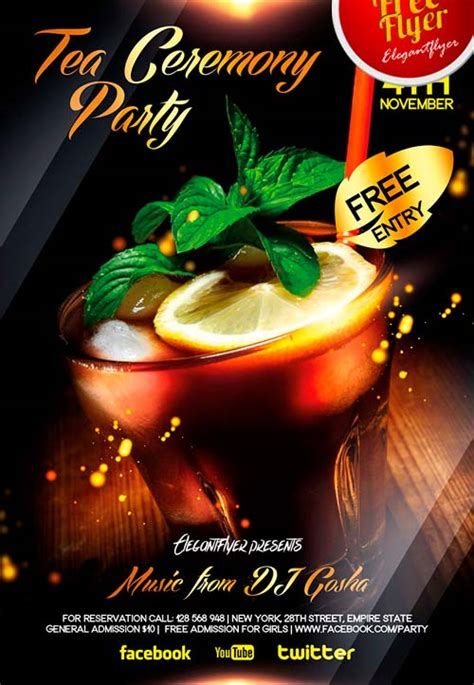 Download Free Tea And Cocktail Party Flyer Psd Template Bar Flyer Templates Free