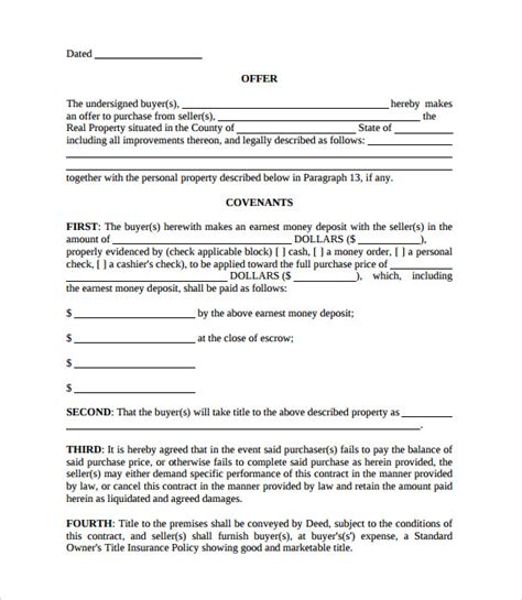 real estate offer template real estate contract templates 9 free