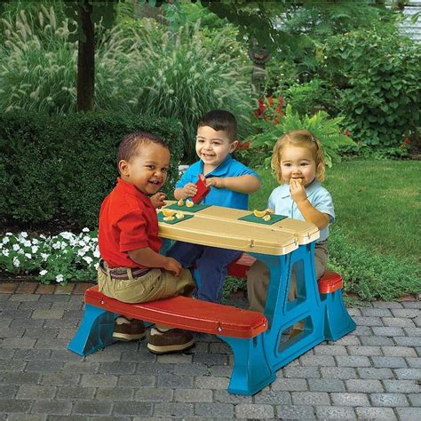 children s picnic bench kids plastic picnic table set bench chair play in out door