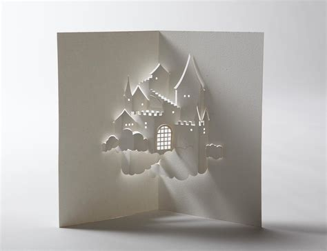 How To Make Things Pop Out On Paper - castle in the sky pop up card