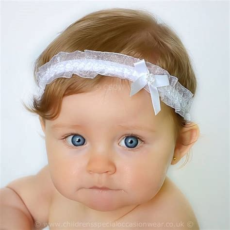 baby headbands baby headband uk baby white organza headband with satin diamante