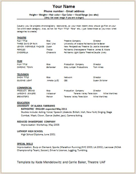 Professional Acting Resume Template by Actor Resume Template Gfyork