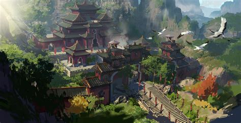 golden village wallpaper 25 painting fantasy chinese ladder moutain temple