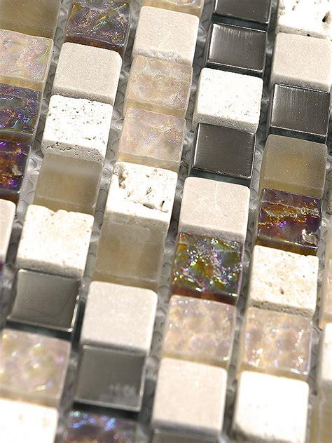 Beige Brown Iridescent Small Glass Travertine Mosaic Tile