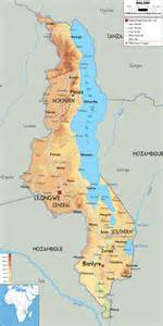 physical map of malawi ezilon maps