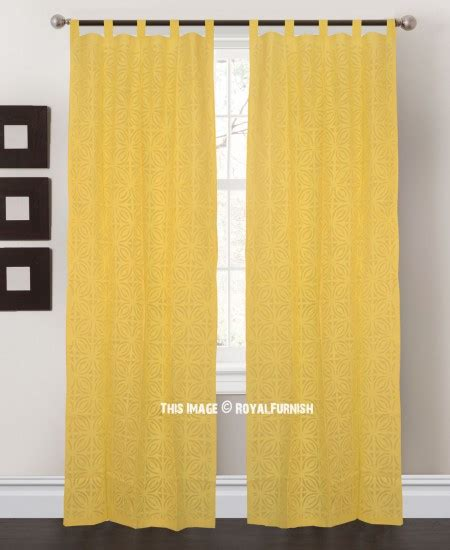 Yellow Cotton Curtains Yellow Floral Curtwork Cotton Sheer Curtains Set Of 2 Royalfurnish