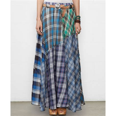 Patchwork Skirt - denim supply ralph patchwork plaid maxi skirt lyst