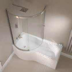 bath shower april p shape reinforced shower bath with optional front