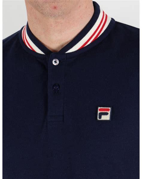 Polo Shirt Fila Keren Terlaris fila vintage skipper polo shirt navy cotton mens baseball mk1 settanta