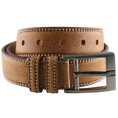 The Belts by Black Co Uk Speckled Leather Belt With Saddle Stitch