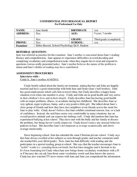 school psychologist report template psychological report sle