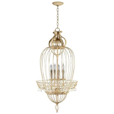Bird Chandelier Lighting Vintage Foyer Antique White Bird Cage 4 Light Chandelier Kathy Kuo Home