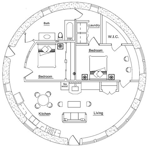Earthbag Homes Plans | 33 10m roundhouse 2 bedroom earthbag house plans