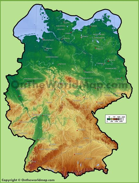 germen map germany physical map