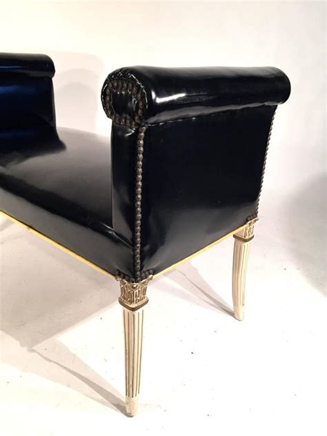 faux leather bench seat window seat bench in patent faux leather for sale at 1stdibs