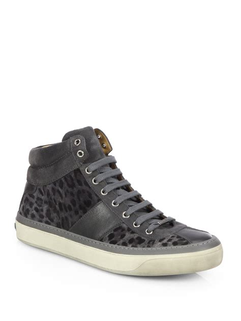 jimmy choo sneakers mens jimmy choo belgravi leopard print hightop sneakers in gray