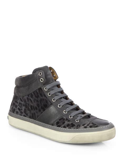 sneakers for jimmy choo belgravi leopard print hightop sneakers in gray