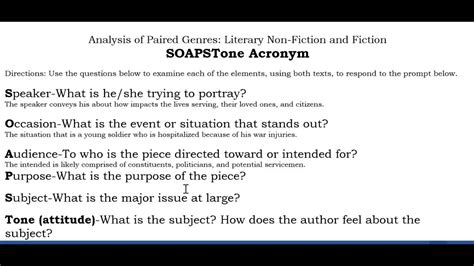Soapstone Analysis - soapstone analysis paired literary nonfiction fiction