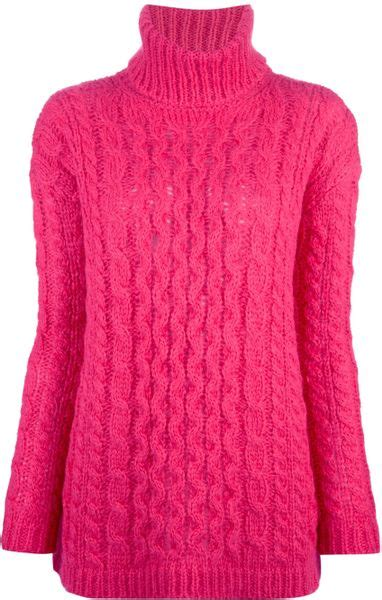 pink cable knit sweater dondup cable knit sweater in pink lyst