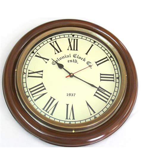 buy clock artshai exclusive antique look brass and wooden wall clock