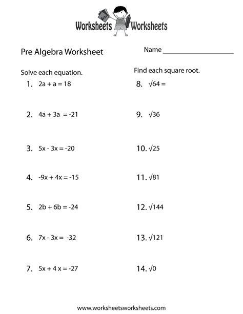 Pre Algebra Worksheets 7th Grade by Pre Algebra Practice Worksheet Free Printable