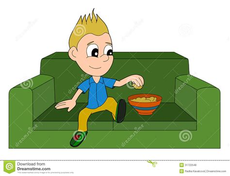 cartoon sitting on couch cartoon boy relaxing royalty free stock photos image