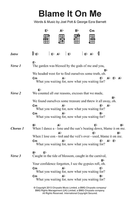 ukulele tutorial budapest blame it on me sheet music by george ezra ukulele lyrics