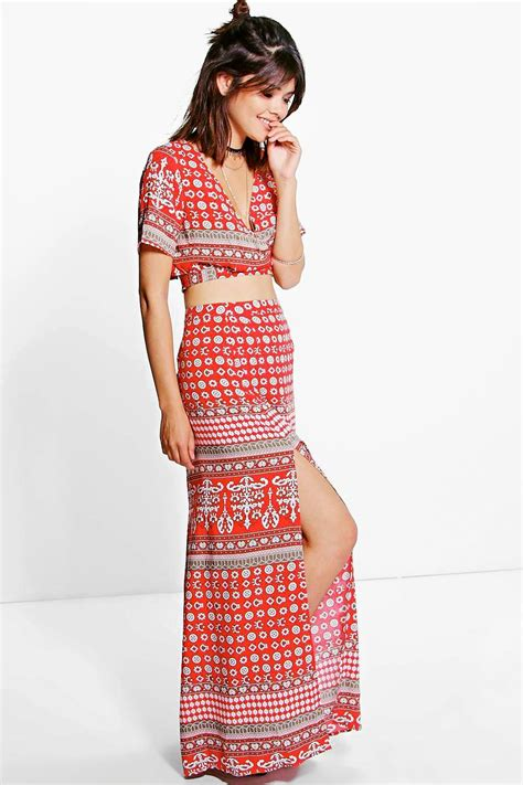 Set Topskirt Jj494 lorelai wrap tie top maxi skirt co ord set at boohoo