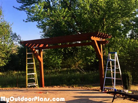 diy  post cedar pergola myoutdoorplans