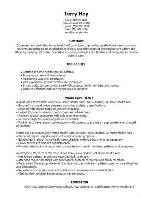 Resume For Home Health Aide by 1 Home Health Aide Resume Templates Try Them Now