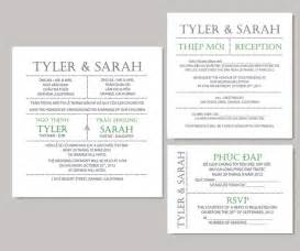 Vietnamese Wedding Invitations Printable Bilingual Vietnamese Wedding Invitation Set Invitation Reception And Rsvp Sarah
