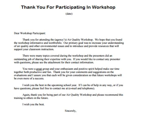 Thank You Letter For Attending Thank You For Participating Writing Professional Letters