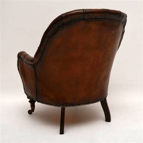old leather armchair antique victorian deep buttoned leather armchair