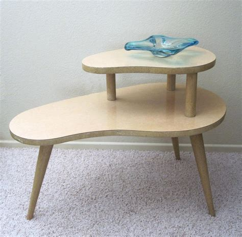 vintage end table 1950s vintage 1950s kidney shaped 2 tier end table retro