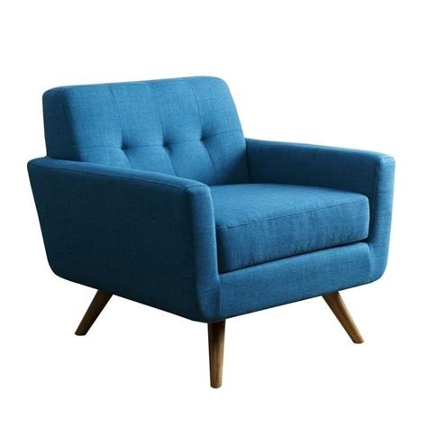 Teal Arm Chair by Bowery Hill Tufted Fabric Arm Chair In Teal Blue Bh 641924