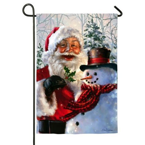 Santa Garden Of by Santa And Frosty Garden Flag Garden Flags